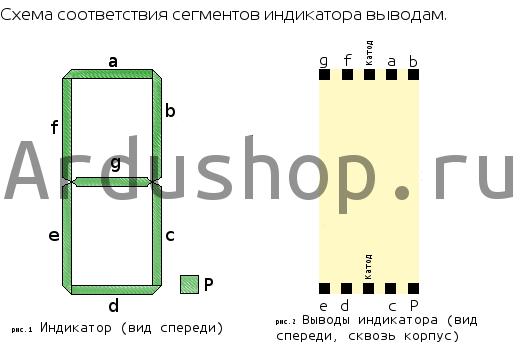 Схема подключения семисегментного индикатора LD-5161AG