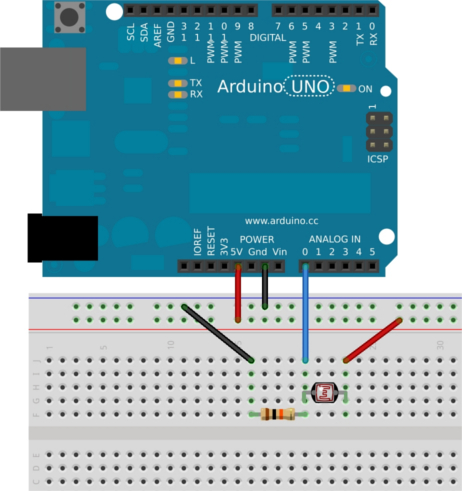 Схема подключения фоторезистора