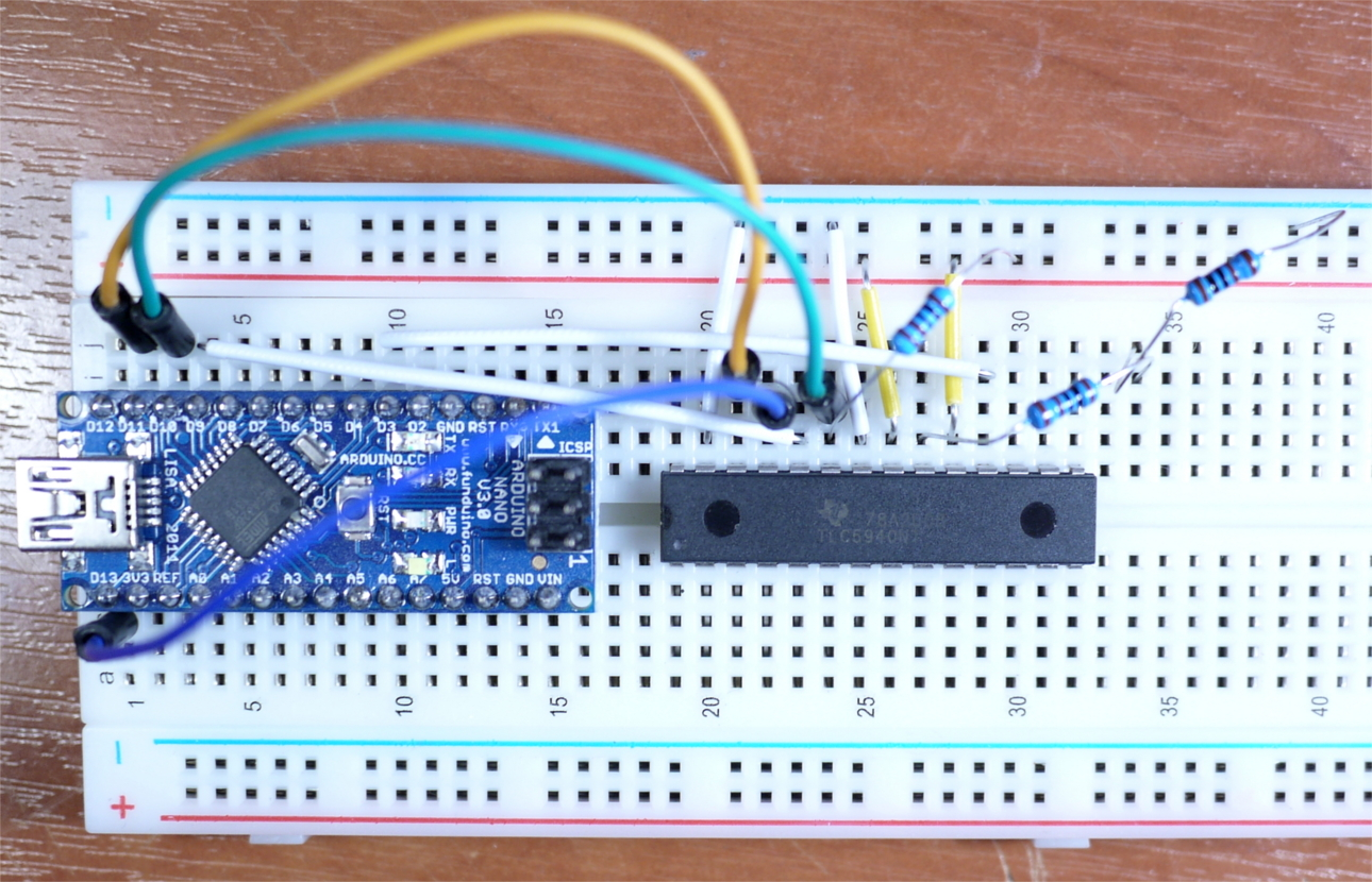 Tutorial Arduino And The Tlc5940 Pwm Led Driver Ic Make Rgb Using An Rgbl Example Circuit Tlc594connection