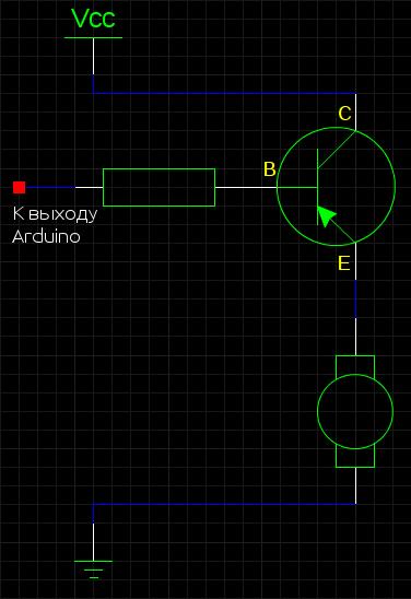 Подключение мощного мотора с помощью транзистора